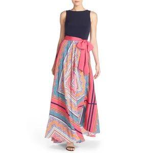 ELIZA J Scarf Print Jersey & Crepe de Chine Dress